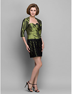Sheath/Column Mother of the Bride Dress - Clover Short/Mini 3/4 Length Sleeve Lace/Taffeta