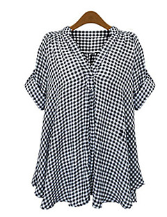 משובץ דמקה V עמוק פשוטה יום יומי\קז'ואל חולצה נשים,סתיו שרוולים קצרים שחור פוליאסטר