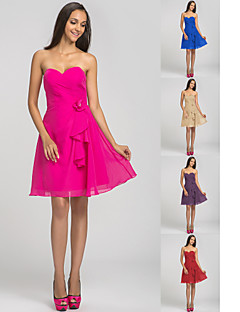Short/Mini Chiffon Bridesmaid Dress - Fuchsia / Royal Blue / Ruby / Champagne / Grape Plus Sizes / Petite A-line Sweetheart