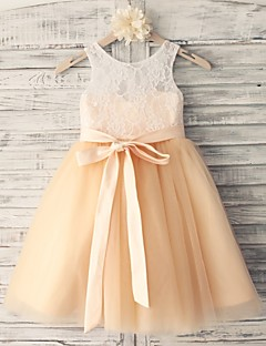 Princess Champagne Knee-length Flower Girl Dress - Lace/Tulle Sleeveless
