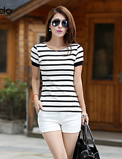Mulheres Camiseta Casual Simples / Moda de Rua Verão,Listrado Colorido Algodão Decote Redondo Manga Curta Fina
