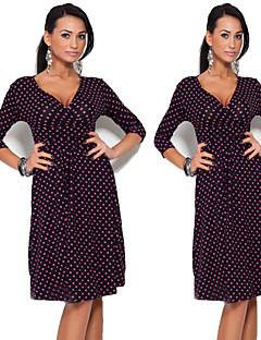 Ležérní/Grafika Véčkový výstřih - Třičtvrteční rukávy - ŽENY - Dresses ( Směs bavlny )