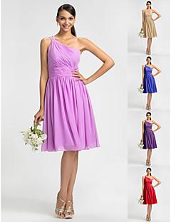 hemkomst brudtärna klänning knälång chiffong slida kolumn enaxlad klänning