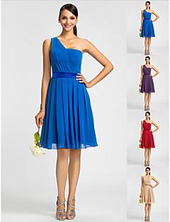 동창회 들러리 드레스 무릎 길이 (590990)를 선 공주 어깨 하나 드레스 쉬폰