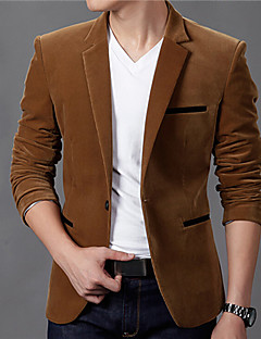 Men's Solid Casual Blazer,Cotton Long Sleeve Blue / Brown / Red / Tan
