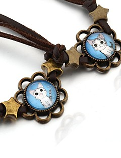 Chi's Sweet Home Chi's Cat Cabochon Time Gem Lovely Cat Leather Couple Bracelet 1 Pair
