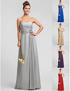 Floor-length Chiffon Bridesmaid Dress - Silver / Royal Blue / Ruby / Champagne / Grape Plus Sizes / Petite Sheath/Column Sweetheart