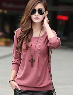 여성의 솔리드 라운드 넥 긴 소매 티셔츠,심플 / 스트리트 쉬크 캐쥬얼/데일리 레드 / 블랙 / 그레이 가을 얇음