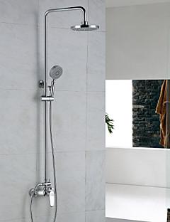 コンテンポラリー シャワーシステム レインシャワー ハンドシャワーは含まれている with  セラミックバルブ 二つ シングルハンドル二つの穴 for  クロム , シャワー水栓
