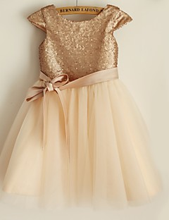 Flower Girl Dress Princess Knee-length - Satin / Tulle / Sequined Short Sleeve Scoop
