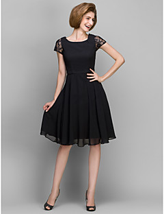 A-line Mother of the Bride Dress - Black Knee-length Short Sleeve Chiffon