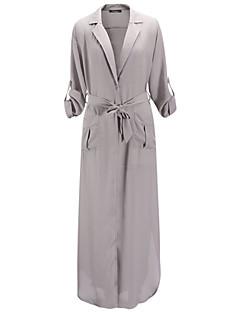 Women's Sexy Vintage Deep V Neck Long Sleeve Maxi Dress