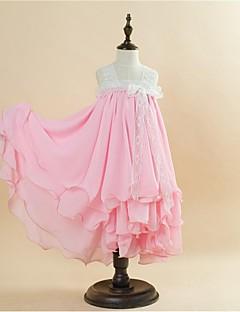 Ball Gown Tea-length Flower Girl Dress - Lace/Satin/Velet Chiffon Sleeveless