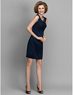 Sheath/Column Mother of the Bride Dress - Dark Navy Knee-length Sleeveless Satin