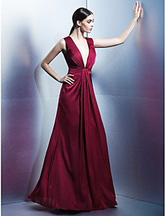 Formal Evening Dress - Burgundy Sheath/Column V-neck Floor-length Satin Chiffon