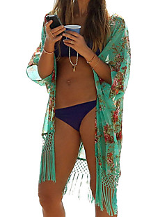 Uden ærmer Tynd Kvinders Grøn Trykt mønster Sommer Sexet Strand Bluse,Polyester