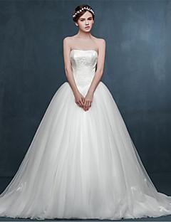 웨딩 드레스 - 아이보리(색상은 모니터에 따라 다를 수 있음) 볼 가운 쿼트 트레인 스윗하트 튤