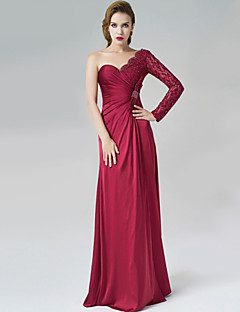 Formal Evening Dress - Burgundy A-line One Shoulder Floor-length Satin