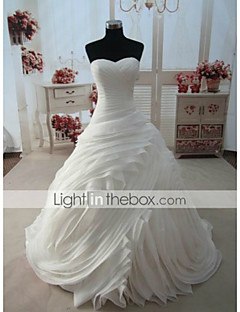 A-line,Ball Gown Chapel Train Wedding Dress -Sweetheart Organza