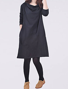Round Neck Maternity Dress , Cotton Blends Above Knee Long Sleeve