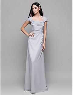 Lanting Bride Ankle-length Chiffon Bridesmaid Dress Sheath / Column Square with