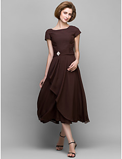 A-line Mother of the Bride Dress Tea-length Short Sleeve Chiffon with Crystal Detailing / Side Draping