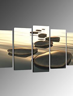 視覚star®5パネルキャンバス壁アートプリントキャンバスの壁の装飾上の海のビーチ石のプリントを設計します