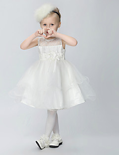 Blumenmädchenkleid - Tülle/Polyester - A-Linie - knielang - Ärmellos