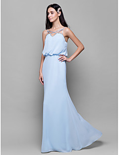 Lanting Floor-length Chiffon Bridesmaid Dress - Sky Blue Sheath/Column Spaghetti Straps