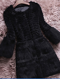 Women's Plus Size / Casual/Daily /Simple Fur Coat,Solid / Color Block Round Neck Long Sleeve Fall / Winter Black