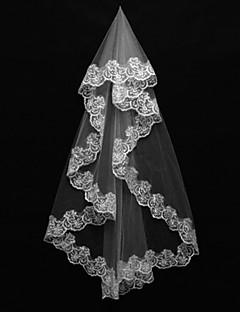 한층 - 레이스처리된 가장자리 - 클래식 - 손가락 베일 ( 아이보리 , 새해장식 )