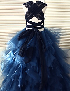 Ball Gown Floor Length Flower Girl Dress - Lace Tulle Sleeveless Scoop Neck with Lace