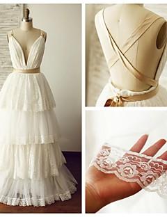 A-line Wedding Dress - Ivory Floor-length V-neck Lace / Tulle