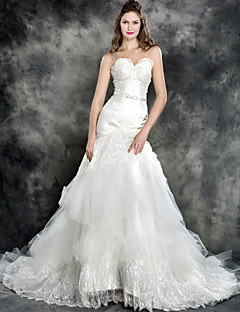 Trumpet/Mermaid Wedding Dress - Ivory Chapel Train Strapless Lace/Tulle