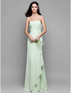 LAN TING BRIDE Floor-length Chiffon Bridesmaid Dress - Sheath / Column Strapless with Crystal Detailing