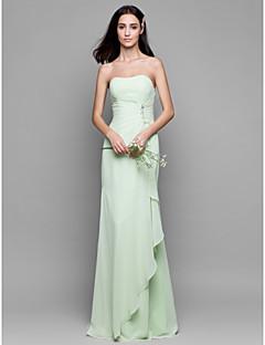 Lan ting noiva andar de comprimento chiffon vestido de dama de honra - bainha / coluna strapless com detalhes de cristal