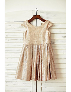 Sheath / Column Knee-length Flower Girl Dress - Sequined Scoop with Sequins