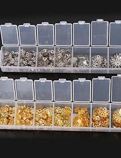 beadia 1 pcs moda resultados da jóia de ouro&ródio chapeado grânulos da forma da flor bonés grânulos de metal espaçadores