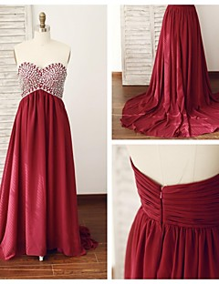 Formal Evening Dress - Burgundy A-line Sweetheart Court Train Chiffon