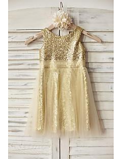 Sheath / Column Knee-length Flower Girl Dress - Tulle / Sequined Sleeveless Scoop with