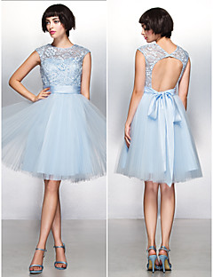 Cocktail Party Dress - Sky Blue A-line Jewel Knee-length Lace/Tulle