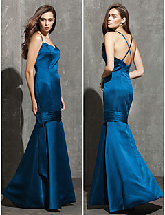 Formal Evening Dress - Ink Blue Plus Sizes / Petite Fit & Flare Sweetheart / Spaghetti Straps Floor-length Satin