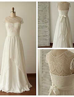 A-line Wedding Dress - Ivory Floor-length Jewel Chiffon / Lace