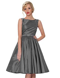Tea-length Taffeta Bridesmaid Dress - Blushing Pink / Regency / Gray Ball Gown Bateau