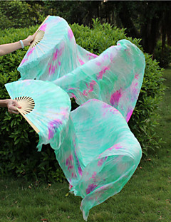 Hot Belly Dance Tie Dyed Green Silk Fans 100% Real Silk New Tie-dyed Silk Fans Design 2pcs/L+R