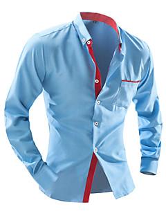 Herren Hemd-Verziert / Einfarbig Freizeit / Büro / Formal / Sport / Übergröße Baumwollmischung Lang Blau / Weiß