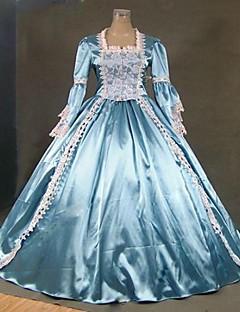 /שמלותחתיכה אחת לוליטה גותי Steampunk® / בהשפעת וינטאג' Cosplay שמלות לוליטה כחול וינטאג' שרוול ארוך ארוך שמלה ל נשיםסאטן / תחרה /