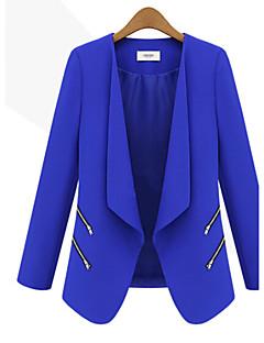 Blå / Hvit / Sort Medium Langermet,Skjortekrage Blazer Ensfarget Høst Kvinner