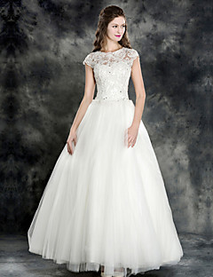 A-line Wedding Dress - Ivory Floor-length Jewel Lace/Tulle