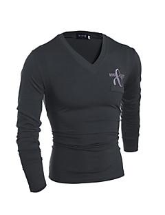 T-Shirts ( Bomuld ) MEN - Casual / Arbejde V hals - Lang Ærmet